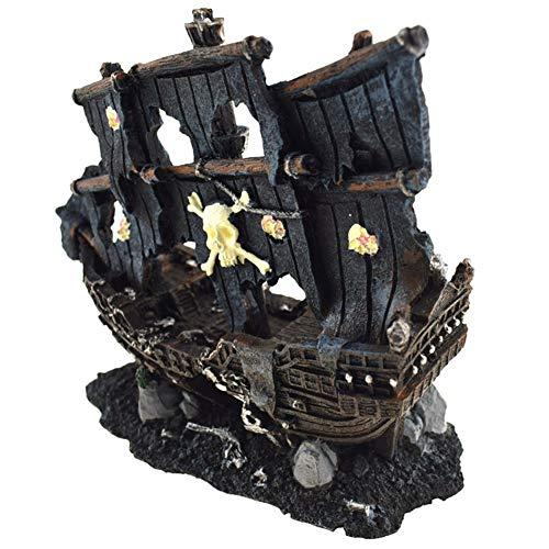 ACC Aquarium Dekoration-Harz-Fischerboot-Wrack-Piraten-Schiff Crafts Dekorative Ornamente für Aquarium Landschaft, Hauptdekoration