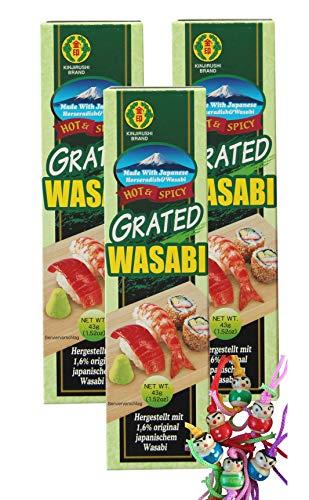 yoaxia ® - 3er Pack - [ 3x 43g ] KINJIRUSHI Wasabi / Meerrettich Paste HOT + SCHARF aus Japan + ein kleines Glückspüppchen - Holzpüppchen