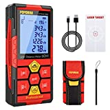 Laser Measure Rechargeable, 196Ft M/In/Ft Classic Mute Laser Distance Meter with Electronic Angle Sensor,Backlit LCD and Pythagorean Mode,Measure Distance,Area and Volume,Carry Pouch,POPOMAN -MTM120B