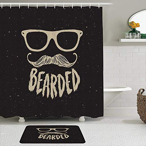 TARTINY Juego de Cortina de Ducha de 2 Piezas con alfombras Antideslizantes, Hipster Man Imprimir Peinados Anteojos Barbas Bigotes Signos Estilo Símbolos con 12 Ganchos