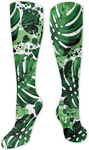 Calcetines de compresión para mujer y hombre, color verde fresco con plantas de hojas en verano, ideales para correr, viajes, ciclismo, moda