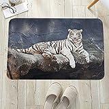 Alfombrilla de baño antideslizante, para baño o ducha,Tigre, gato albino sentado en roca Naturaleza sublime Animales, alfombra de suelo absorbente, para sala de estar, sofá, cojín, caucho, 60 x 100 cm