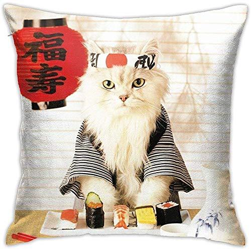 Federa per Cuscino Sushi Cat Cuscino Giapponese Carino Fodere per Cuscino 45 X 45 cm