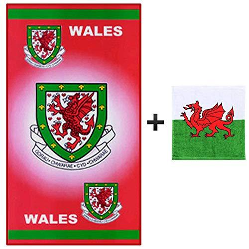 Giant Wales FA Voetbal Crest Beach Handdoek Plus GRATIS Wales Gezicht Handdoek (100% Katoen)