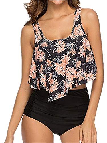wenyujh Damen Vintage Bikini Set Blumenmuster Bademode Hohe Taille Bauchweg Badeanzug Volant Neckholder Rückenfrei Badebekleidung Beachwear Gepolstert Push Up Swimwear (Large, Schwarz-1)