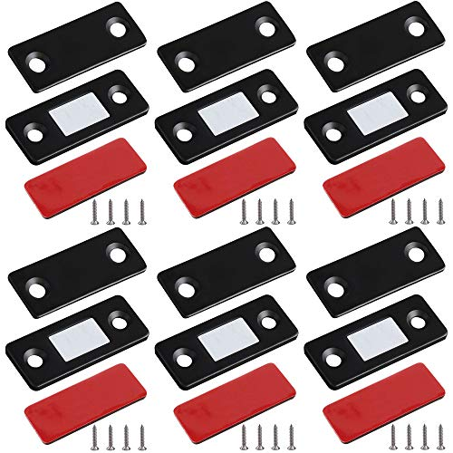 Magnetic Door Catch, JODEIAN 6 Pack Cabinet Door Magnets Ultrathin Strong Magnetic Door Latch with Black Oxidation for Kitchen Closet Door Closing Drawer Closer Sliding Door Closure Furniture Latch