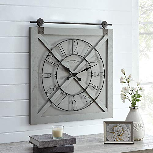 FirsTime & Co. Gray Farmstead Barn Door Wall Clock, American Designed, Gray, 27 x 2 x 29 inches (31202)