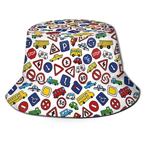 SDFRG Sombrero de visera de verano Gorra de cubo Autobús lindo Señales de tráfico de automóviles Bicicleta Niños Estilo de caricatura de carretera Impresión dibujada a mano Sombrero de pescador para h