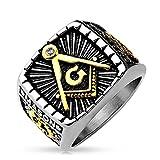 Autiga Freimaurer Ring Herren Edelstahl Tempelritter Ring Masonic Siegelring Symbol G Winkel und Zirkel Silber 62 - Ø 19,76 mm