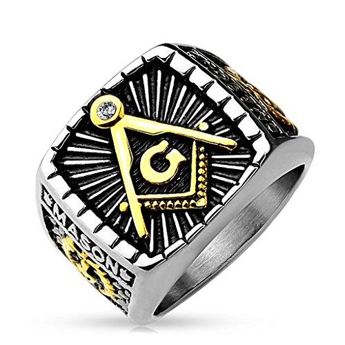 Autiga Freimaurer Ring Herren Edelstahl Tempelritter Ring Masonic Siegelring Symbol G Winkel und Zirkel Silber 64 - Ø 20,57 mm