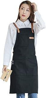 YUENA CARE Ajustable Delantal de Trabajo Mandil de 100% Algodón Unisex con Diseño de Espalda Correas Cruzadas de Moda para...