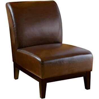 Christopher Knight Home Darcy Leather Slipper Chair, Brown