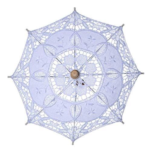 YaLuoUK - Sombrilla para mujer, apertura manual, para boda, nupcial, bordado, encaje, color blanco sólido, accesorios románticos para fotos con mango de madera, 8 costillas, paraguas para patio