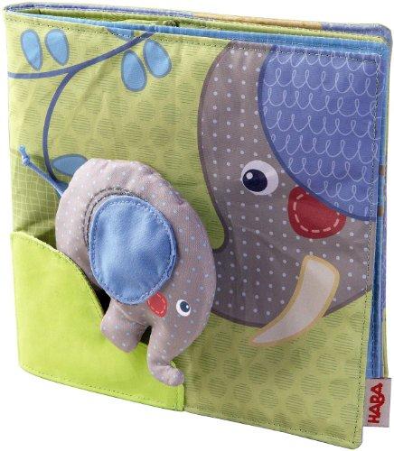 Haba 300146 - Stoffbuch Elefant Egon, weiches Knisterbuch mit vielen Fühl- und Spieleffekten, wunderschön gestaltetes Babyspielzeug ab 6 Monaten