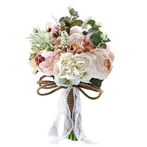 HLPIGF Bouquet de Fleurs de Pivoine Artificielle Rose pour M