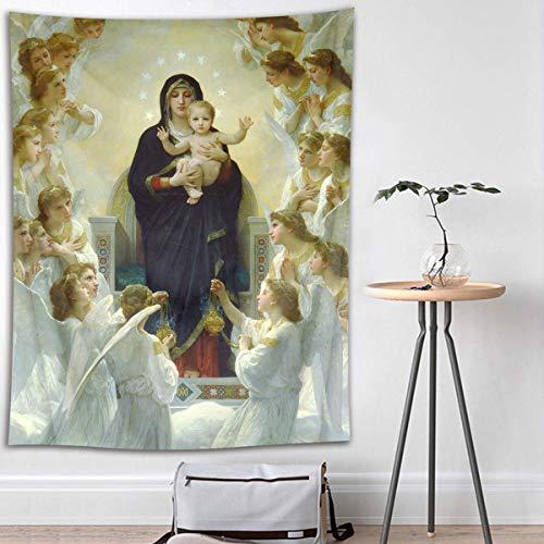"""Tapeçaria cristã HVEST Virgem Maria e Jesus Cristo no paraíso anjos pendurados na parede no céu tapeçarias para quarto sala de estar dormitório decoração de parede fundo de festa, Multi 21, 80"""" X 60"""""""