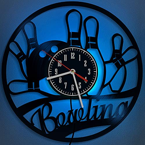 Reloj de pared de vinilo de bolos, 30 cm, 7 colores, LED, luz nocturna, con control remoto, luces de Halloween, decoración del hogar, regalos para hombres (A1-con LED)
