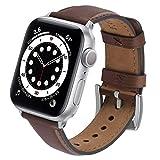 GerbGorb Yola - Correa de piel para Apple Watch de 42 mm, 44 mm, 38 mm, 40 mm, compatible con iWatch Serie 6/5/4/3/2/1/SE, para hombre y mujer (42 mm/44 mm, marrón oscuro + hebilla plateada)