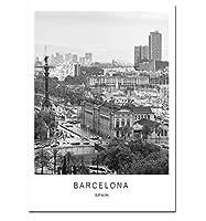 ブラックホワイトキャンバス絵画世界都市景観パリロンドンニューヨークポスタープリント北欧スタイルの壁アート写真家の装飾フレームなしの40×60