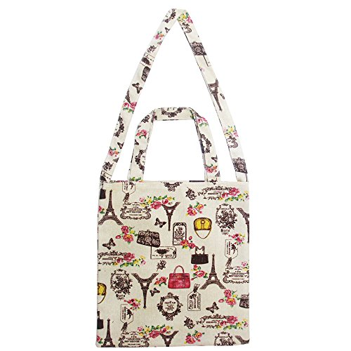 FashionBoutique Extra Large Heavy Duty Cotton Canvas Reusable Shopping Tote Bag or daily use bag with beautiful pattern and Inner Pocket. (Fashion Paris)
