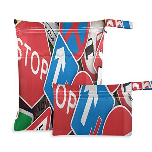 Chaotic Collection Traffic Signs Reino Unido Bolsa de almacenamiento de viaje Dos bolsillos 11.8 x 14.2 pulgadas y 5.9 x 8.7 pulgadas Organizador de bolsas de pañales Organizador impermeable Organiza