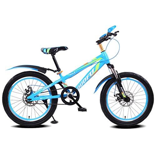 Bicicletta da Bambino 16/18/20 Pollici Mountain Bike 5-8/7-10/10-14 Anni Bambino Carrozzina Bicicletta in Acciaio ad Alto tenore di Carbonio, Blu Nero/Rosso Nero/Verde Nero/Blu (Color : 16 inch Blue)