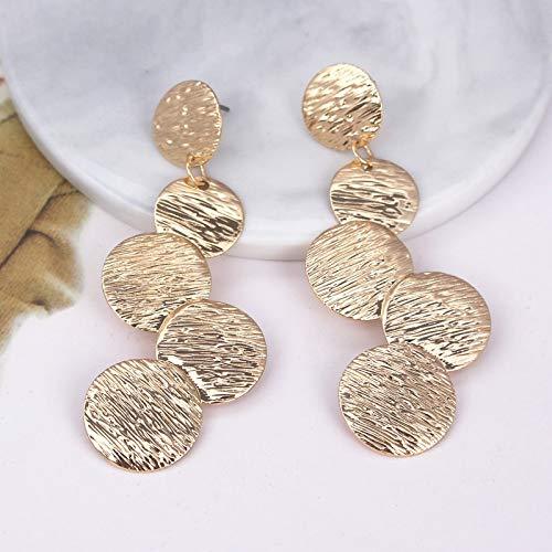 xuehua Pendientes exagerados para mujer con disco exagerado redondo y gota de moneda para mujer Vintage largo desigual dibujo oblea pendientes de metal (color metálico: plata EK3308)