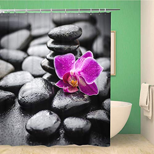 Awowee Decor Shower Curtain Green Alternative Zen Basalt Stones and Orchid Pink Aroma 152x180cm Polyester Fabric Waterproof Bath Curtains Set with Hooks for Bathroom