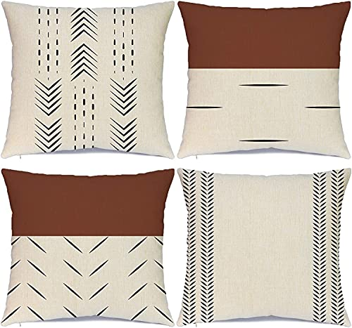 Hlonon Decorative Boho Throw Pillow Covers Set of 4 Modern Design Geometric Stripes Farmhouse Linen Neutral Pillow Cover for Sofa Couch(Chestnut Brown, 20x20 Inch)
