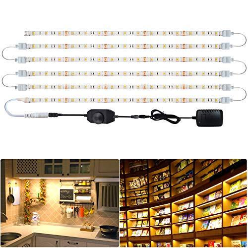 Tesfish luz led armario, 6 PCS x 50 cm 5050 blanco cálido 3000K LED Tira de Gabinete, Impermeable Tira de luces LED con adaptador de corriente y dimmer para Cocina dormitorio estante decoración del