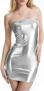 Women Sexy Metallic Hot Sleeveless Bodycon Dress Wetlook Clubwear