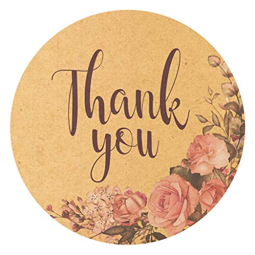 """SylkyClover Thank You Stickers Roll - 1.5"""" Floral 500 Count Thank You Labels, Thank You Stickers Small Business, Thank You Stickers for Gift Bags, Small Thank You Stickers, Thank You Labels Stickers"""