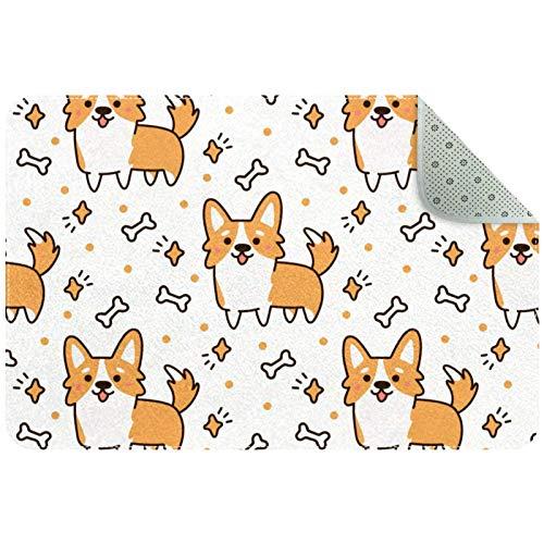 Bennigiry Lindo perro raza galesa Corgi con corazones, estrellas, huesos, alfombra para sala de estar, dormitorio, sala de juegos, 35 x 24 pulgadas