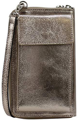 SH Leder Damen Handytasche Umhängetasche Geldbörse Multifunktion Beutel aus Echtleder Verstellbar Schultergurt Handy bis 6,5 Zoll 11,50x19cm Sarah G339 (Bronze Metallic)
