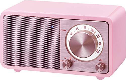 Oferta de Radio de escritorio portátil Sangean WR-7 (sintonizador FM RDS, Bluetooth, entrada auxiliar, bocina incorporada, batería recargable (recargable)), rosa / rosa