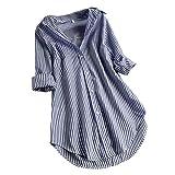 Langarmshirt Oberteile Damen Shirt Frauen Umlegekragen Gestreift Knöpfen Lang Bluse Vintage Bauchfrei Unregelmäßig Große Größen Tunika Sweatshirt Hemd(XXXL, Marine)
