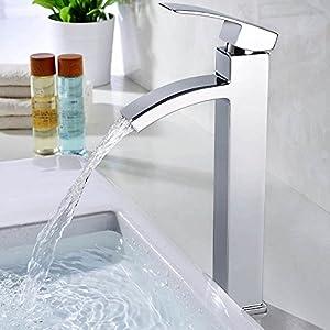 HOMELODY Cromo Cascada Grifo de lavabo Grifo de Baño Monomando de lavabo Grifería lavabo Alto caño Agua fría y cliente