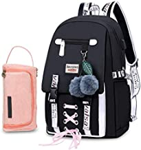 Bevalsa Backpack with Pen Bag Case Holder Set for Girls Kids Middle High School College Student 20L Nylon Water Resistant Casual Daypack Children Schoolbag Bookbag with USB Charging Port (Black)