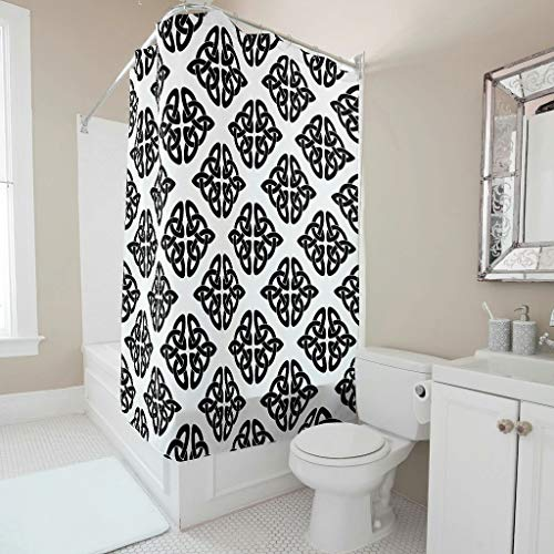 Sweet Luck Cortina de ducha con runas vikingas, antimoho, resistente al agua, lavable, tela de poliéster textil, cortinas con anillos, para cuarto de baño, color blanco, 91 x 180 cm