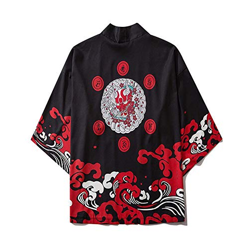 Yicaler Frauen Männer Japanisch Kimono Strickjacke Bademantel Sonnencreme Pyjamas Jacke Mantel Ukiyo-E Dämon Persönlichkeit Krieger Harajuku Stil Robe Dreiviertelhülle Black-XX-Large