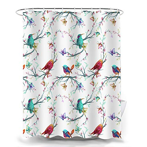 Bird Shower Curtain, Watercolor Elements Flower Bird Branches with Beautiful Wildflowers Leaves Shower Curtain Set with Hooks 72 X 72 Inches