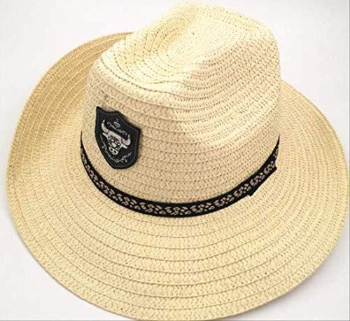 Summer Men Bull Badge Cowboy Sombrero de Paja con Cuerda Sombreros de...