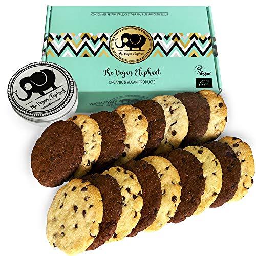 Vegan Cookies Bio Kekse: 17 Vanille-Schokoladen und Doppelte-Schokoladen Kekse, 100% Biologisch, Palmöl-Frei & GVO-Frei, Handgefertigt aus Hochwertigen Zutaten. 595g