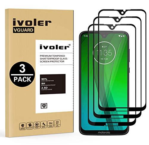 ivoler [3 Stücke] Panzerglas Schutzfolie für Motorola Moto G7 / Motorola Moto G7 Plus, [Volle Bedeckung] Panzerglasfolie Folie Hartglas Gehärtetem Glas BildschirmPanzerglas