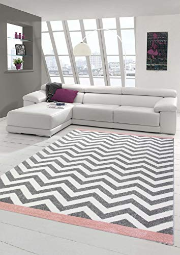 Teppich modern Skandinavisches Design in Rosa Creme Grau Größe 160x230 cm
