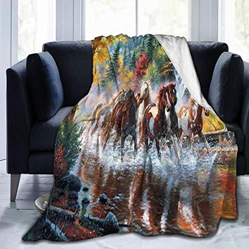 AuHomea Manta de franela de caballos indios americanos ligera y acogedora manta de cama suave para sofá, adecuada para todas las estaciones de 60 x 80 pulgadas, para niños, mujeres y hombres