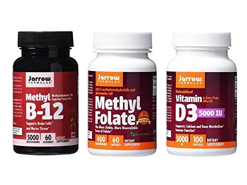 Jarrow Formulas Supplement Bundle (3 Items) – Methyl B12 + Methyl Folate + Vitamin D3 5000iu