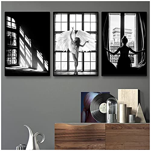 Modelo Fotografía Bailarina Ángel Póster Impresiones en blanco y negro Chica en la ventana Lienzo Pintura Arte escandinavo Decoración de pared Boho-50x70 cm x3 Sin marco