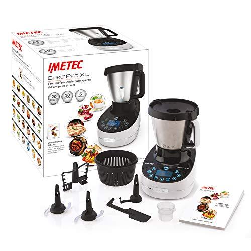 Imetec Cukò Pro XL CM3 2000 Robot da Cucina Multifunzione con Cottura, Cooking Machine 20 Programmi Automatici, 10 Funzioni, Impasta Pane e Pizza, 6 Porzioni, 5 Accessori, Ricettario, 3.6 L, 1000 W