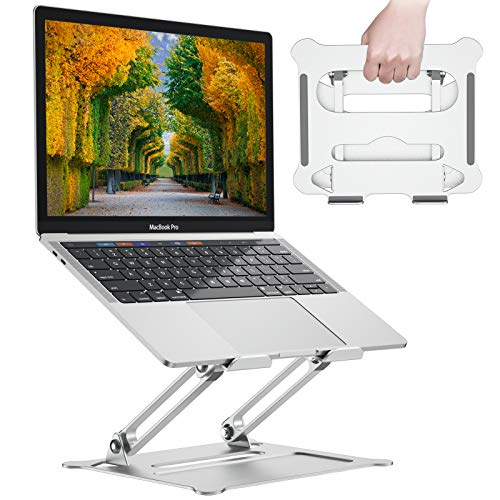 Adjustable Laptop Stand, Ergonomic Notebook Computer Holder, Aluminum Foldable Riser Stand Compatible with 11' to 17.3' Laptop, MacBook, Air, Pro, Dell XPS, Samsung and Lenovo by FURNINXS (Silver)